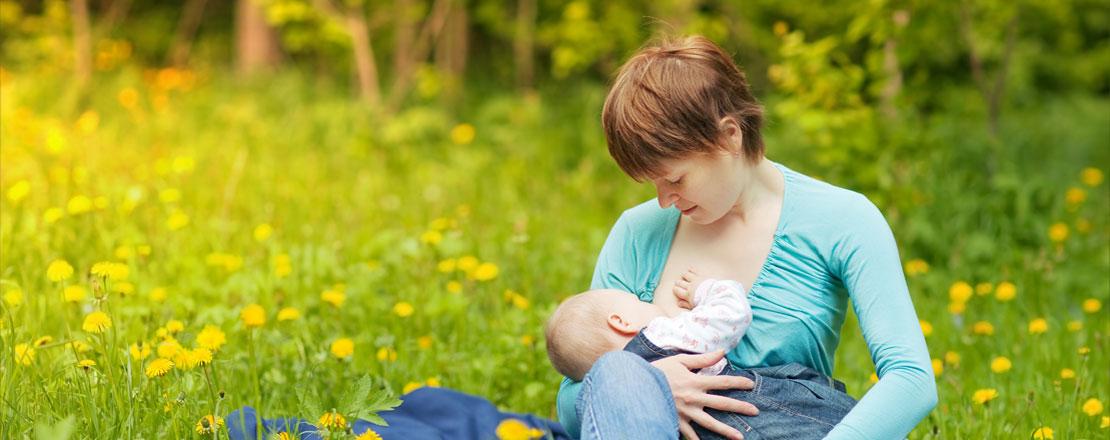 Junge Frau sitzt mit Ihrem Baby auf einer Wiese und stillt es